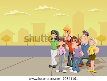 Group of cartoon people on the street.