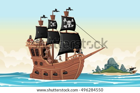 group of cartoon pirates on a