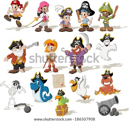 group of cartoon pirates with