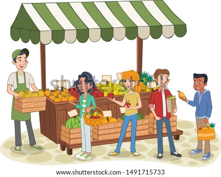 Group of cartoon teenager buying fruits at a street market stand. Local farmer selling fresh fruit on the street market. Natural product.