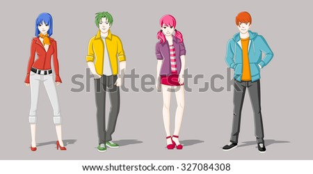 group of cartoon young people