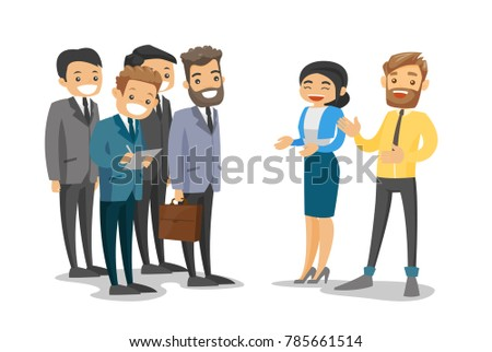 Group of caucasian white business delegates listening to business woman and businessman at conference. Dlegates networking during conference. Vector cartoon illustration isolated on white background.