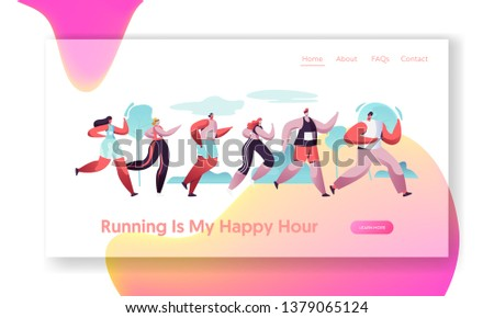 Group of Characters Running Marathon Distance in Raw. Sport Jogging Competition. Athlete Sprinters Sportsmen and Sportswomen. Website Landing Page, Web Page Cartoon Flat Vector Illustration, Banner