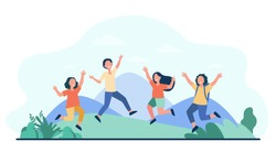 Group of cheerful kids playing outdoors. Children jumping and having fun outside, nature and mountain landscape in background. Vector illustration for childhood, party, summer vacation concept