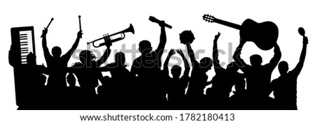 group of cheerful musicians