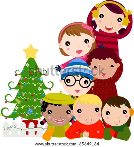 group of children and christmas tree