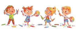 Group of children are holding artist's palette, paint brushes and pencils. Children smeared in paint. Panorama. Funny cartoon character. Vector illustration. Isolated on white background