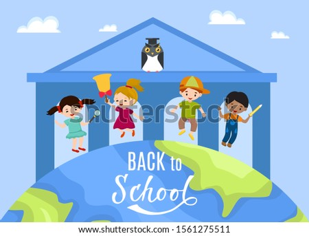 Group of children boys and girls schoolars jumping on cartoon globe vector illustration flat style. Education concept. Kids go back to school. School building background.