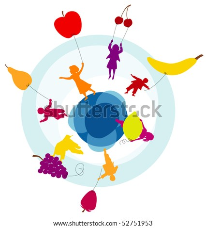 group of children flying with fruit balloons :)