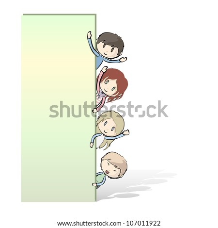 group of children peeking behind a white poster. Vector illustration.