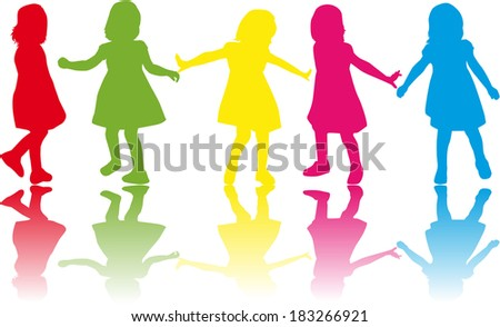 group of children's silhouettes  #183266921
