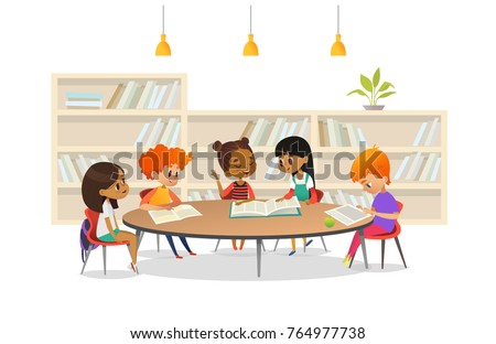 Group of children sitting around table at school library and listening to girl reading book out loud against bookcase or shelving on background. Cartoon vector illustration for banner, poster.