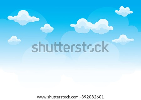 Group of clouds on blue sky, background of cartoon view, vector