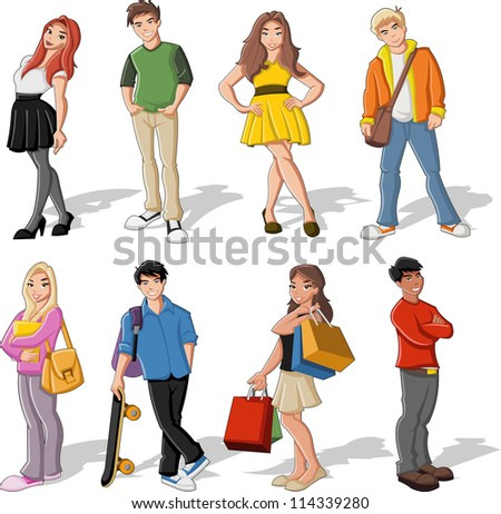 group of colorful cartoon