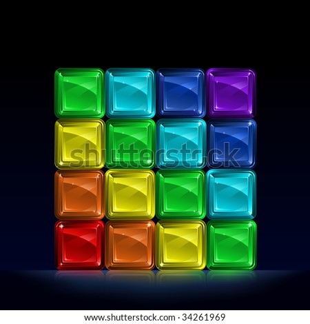 Group of colorful glass blocks forming a cube and representing seven colors of the spectrum (other images from this series are in my gallery)  - stock vector