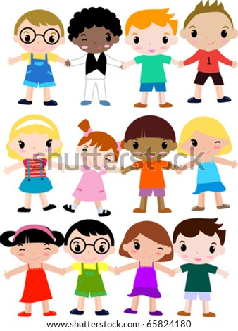 group of colorfully dressed, ethnically diverse children,