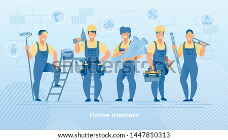 Group of Construction Engineers in Robe with Building Equipment Tools. Carpenter Repairman with Drill and Hammer, Builder with Paint Bucket, Home Master Hold Wallpaper Cartoon Flat Vector Illustration