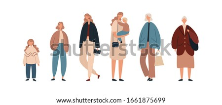 Group of contemporary females from little kid to senior lady wearing stylish casual clothes and representing various stages of woman life