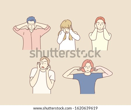 Group of cool people, woman and man covering ears ignoring annoying loud noise, plugs ears to avoid hearing sound. Hand drawn style vector design illustrations.