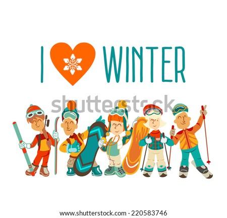 group of cute cartoon skiers