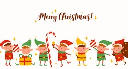 Group of cute elves on Merry Christmas horizontal background. Funny Santa helpers in costumes isolated. Fairy tale festive childish characters holding holiday gifts, candy, ringing xmas bell
