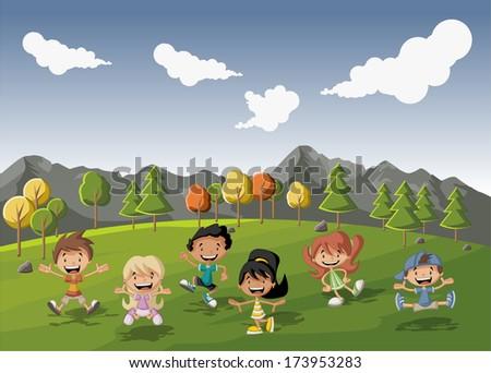 group of cute happy cartoon