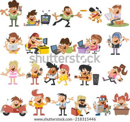 group of cute happy cartoon