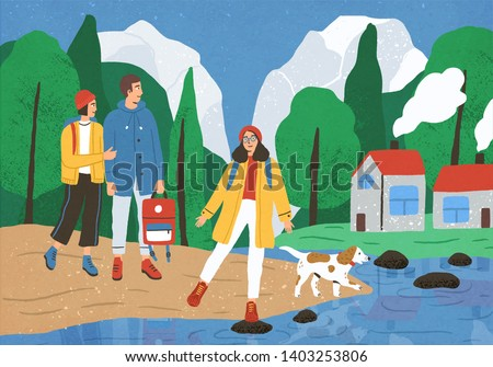 Group of cute happy friends hiking or backpacking in forest or woods at river or lake. Young smiling tourists or backpackers on walk or adventure travel. Flat cartoon colorful vector illustration.