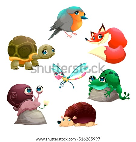 group of cute isolated animals