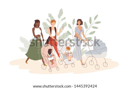 Group of cute women with babies in prams and strollers. Moms walking with their infant children. Community of young mothers. Motherhood and maternity. Flat cartoon colorful vector illustration.