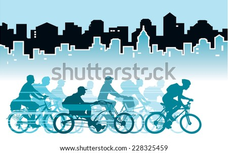 Group of cyclist in the city, sport illustration.