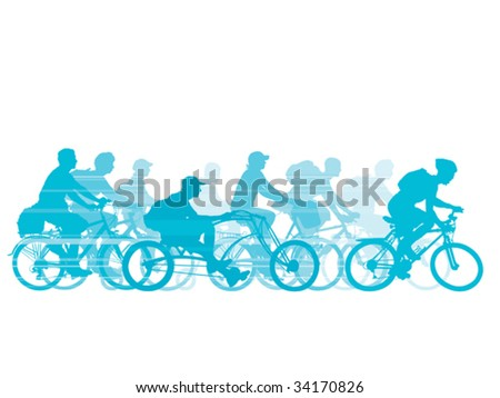 Group of cyclist on the road. Vector illustration.