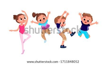 Group of dancing children. Creative kids. Dancing studio. Jumping boy. Ballet elements. Сток-фото ©