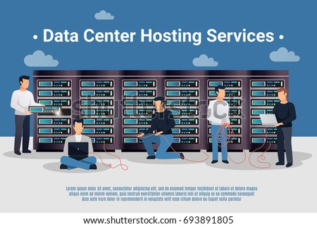 Group of data center hosting service network engineers flat vector illustration