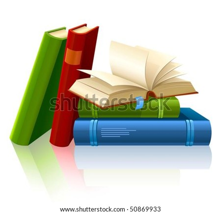 group of different books with blank pages vector illustration, isolated on white background