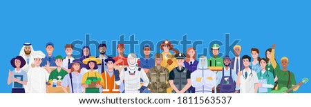 Group of different occupations standing on blue background. Vector
