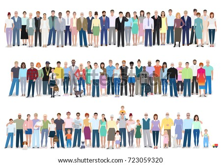 Group of different people, work, different, family, vector illustration