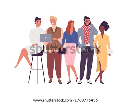 Group of different smiling young employee of multinational company vector flat illustration. Happy diverse business people posing together isolated on white. Joyful stylish modern man and woman