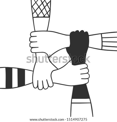 Group of diverse hands holding each other. Unity and teamwork concept. Social diversity. Friendship. Volunteering work.