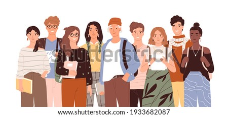 Group of diverse modern students or classmates standing together. Portrait of happy young people isolated on white background. Colored flat cartoon vector illustration of smiling teenagers