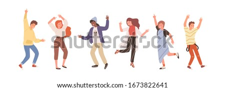 Group of diverse people dancing isolated on white. Set of happy positive man and woman having fun at party or music festival vector flat illustration. Colored person on dance floor at night club