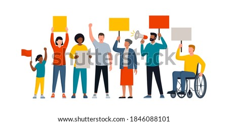 Group of diverse people holding signs and protesting together, social movements and rights concept