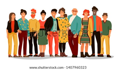 Group of diverse people. Office employee team of young happy men and women, cartoon portraits of workers. Vector male and female smiles people set