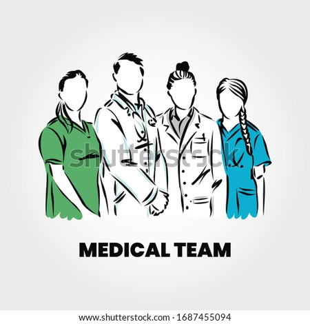 Group of Doctors and Medical Characters Flat People, Team of Doctors and Medical Staff Concept