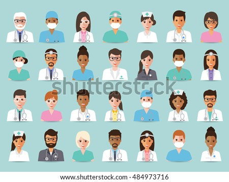 Group of doctors and nurses and medical staff avatar icons. Flat design people character set.