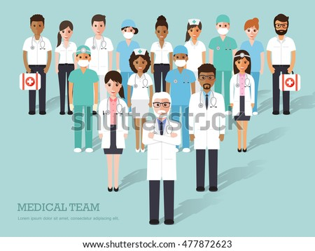 Group of doctors and nurses and medical staff. Medical team concept in flat design people characters.