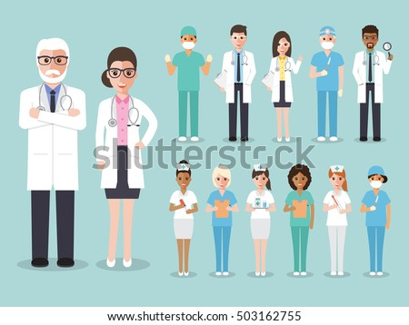 Group of doctors and nurses and medical staff people. Medical team concept in flat design people character set.