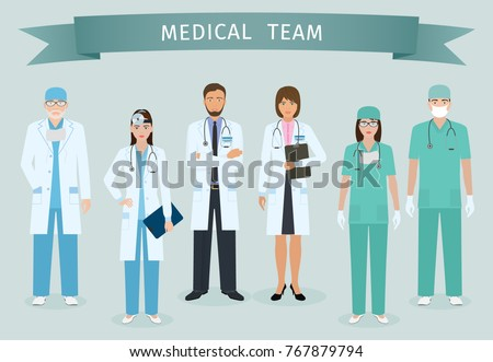 Group of doctors and nurses standing together with award ribbon. Medical people. Hospital staff. Flat style vector illustration.
