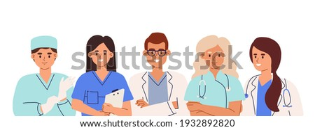 Group of doctors, nurses, surgeon, pharmacist and therapist with gloves and stethoscopes. Team of smiling medic workers. Colored flat cartoon vector illustration isolated on white background