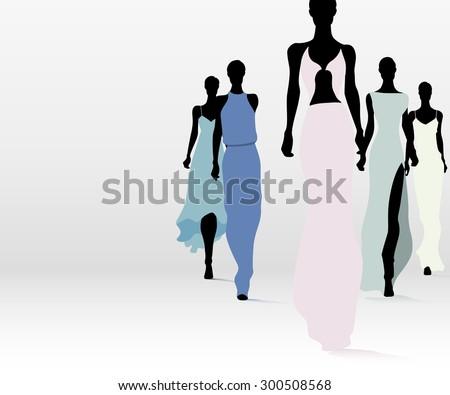 group of fashion women walking